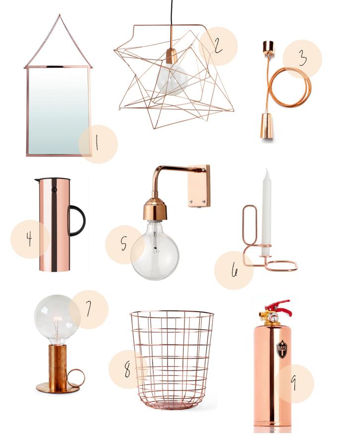 copper, koppar, inredning